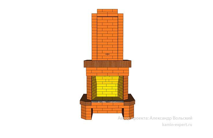 Проект пристенного камина № 67 вид 4