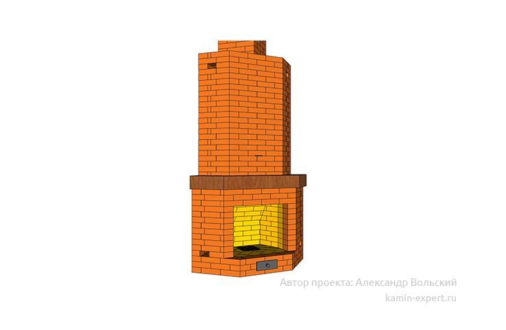 Проект углового камина № 6 вид 2
