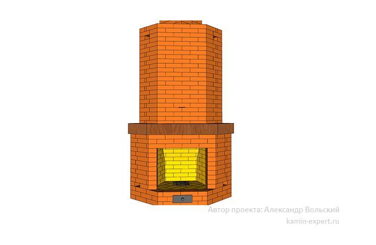 Проект углового камина № 6 вид 3