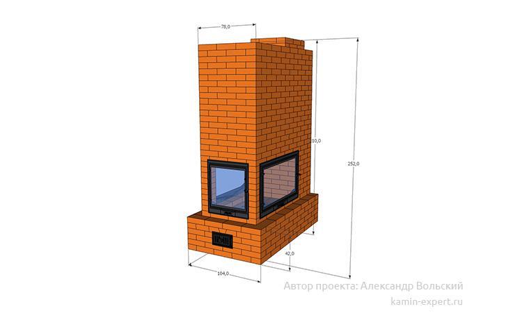 Проект трехстороннего камина № 83 вид 1