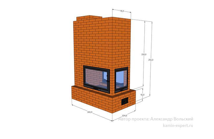 Проект трехстороннего камина № 83 вид 2
