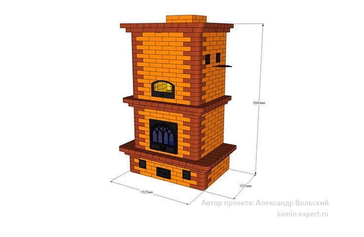 Проект печи-камина № 87 вид 4