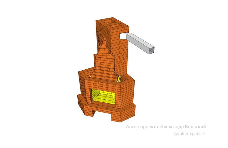 Проект углового камина № 95 вид 1