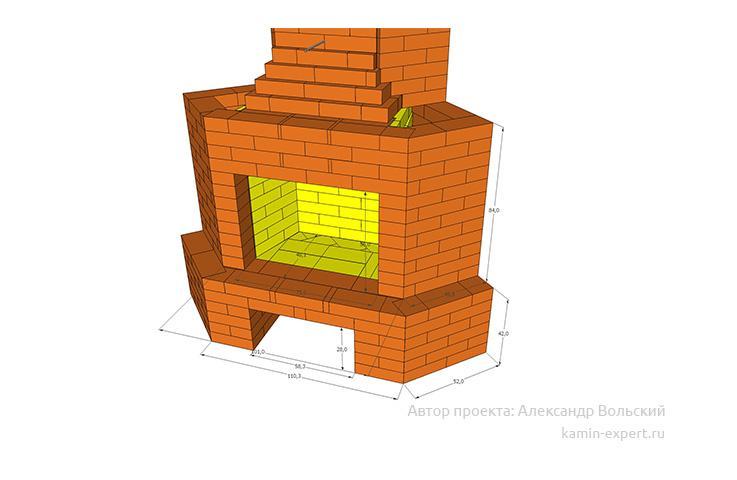Проект углового камина № 95 вид 3