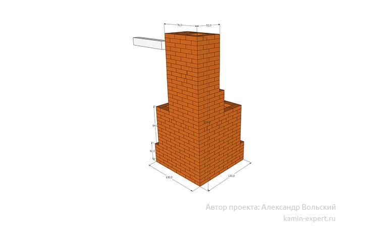 Проект углового камина № 95 вид 4