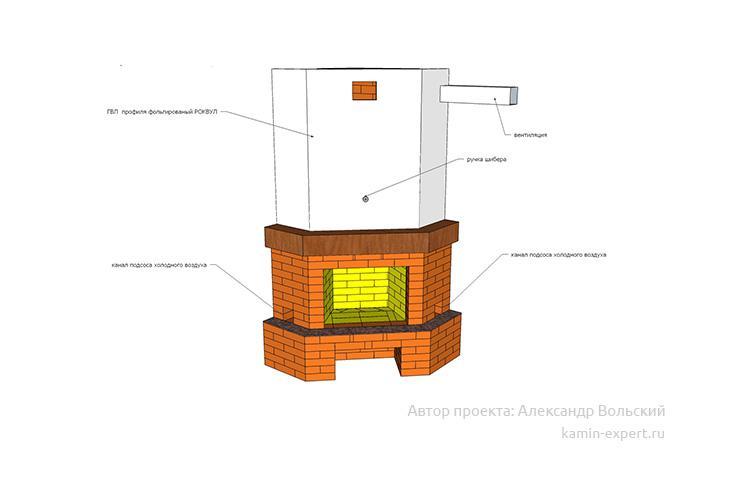 Проект углового камина № 95 вид 5