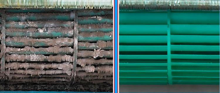 Роторный радиатор до и после чистки