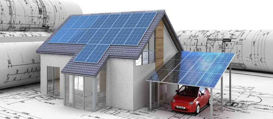 Вместе с основной крышей можно использовать навес для авто под размещение панелей