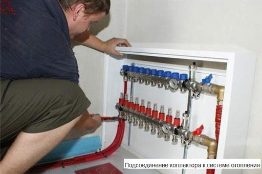 Самый распространённый способ подключения водяного теплого пола — распределительный узел